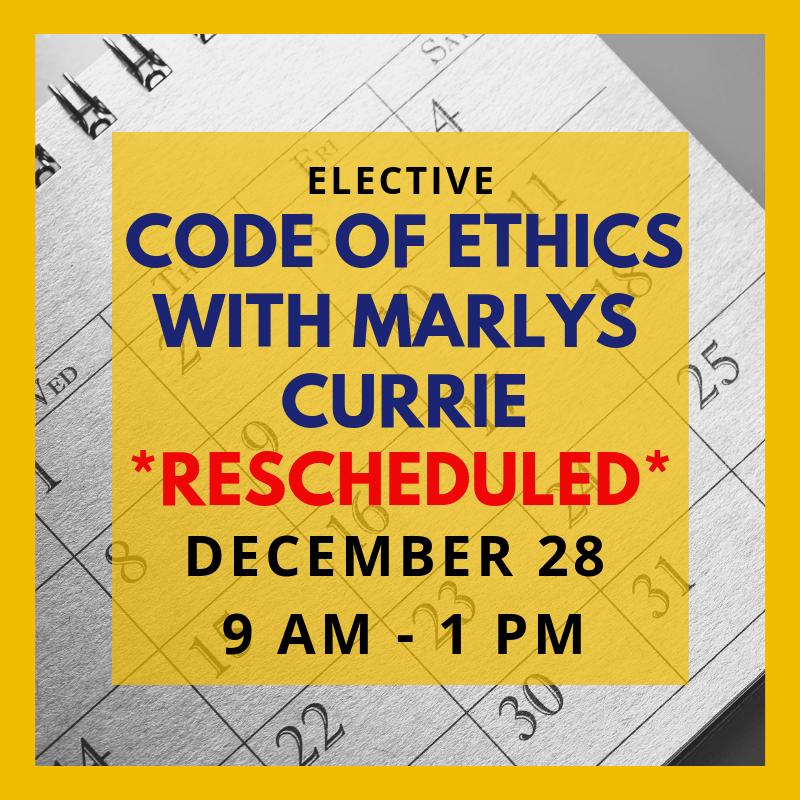 rescheduled Ethics 12-11-18